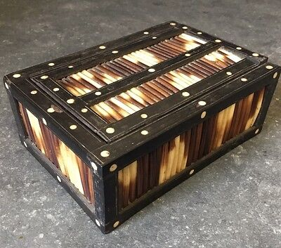 Pre-owned Antique Quill Wooden Table Trinket Jewellery Box