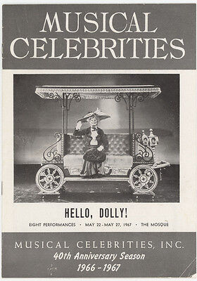 Vintage 1968 Hello Dolly Play Program,carol Channing,richmond,virginia,va.mosque