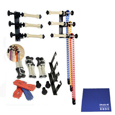 Phot-R 3-Roller Background Backdrop Support System Wall Mount Chamois Cloth