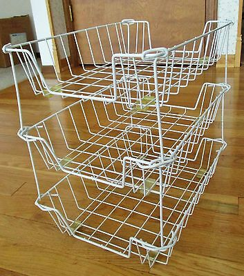 Set of 3 Stacking Wire Letter/File-Desk Organizing Baskets-White
