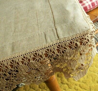 """BEAUTIFUL VINTAGE FLAX LINEN RUNNER ~ HAND CROCHET ~ FITTED CORNERS ~ 21""""x78"""""""