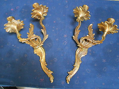 PAIR  of ANTIQUE French BRASS WALL Light SCONCES