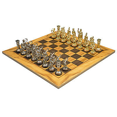 Olive Wood Archers Chess Set with brass and nickel chessmen SE10