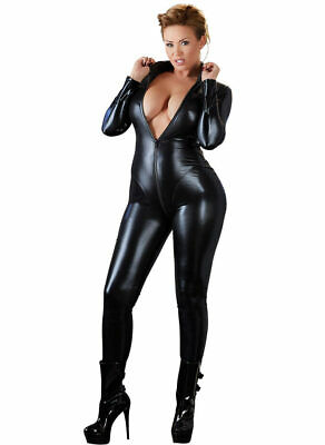 "Wetlook Overall XL - 4XL Langarm Lack Glanz Catsuit Jumpsuit Body Damen ""Nadiney"
