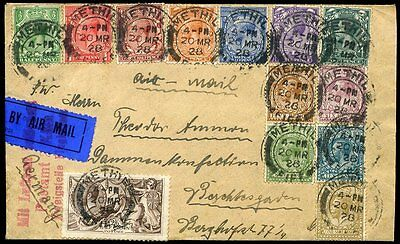 1928 KGV 2/6d Seahorse + Full Set of Profile Heads AIR MAIl Methil