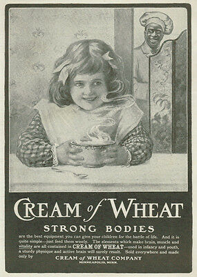 1902 Cream of Wheat Black Cook Watching Little Girl With Bowl Vintage Print Ad