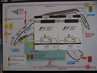 2 Formel 1 Tickets für's  Freitagstraining in Francorchamps in Eau Rouge Tribüne