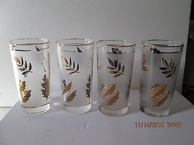 4 Frosted Gold Leaf Water/Ice Tea Libbey Starlyte Tea Glasses