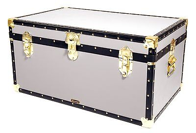 "WHITE Traditional British Mossman Made 33"" Storage Otterman Trunk Toy Box Chest"