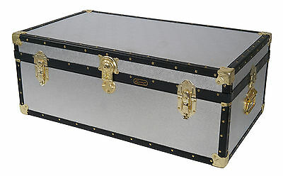 British Mossman Made Traditional Silver Alloy Cabin Luggage - Storage Trunks