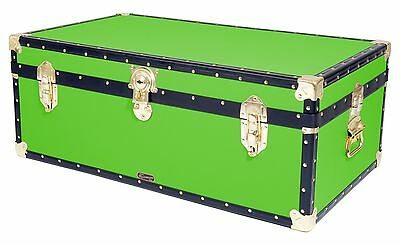 "LIME Traditional British Mossman Made 36"" Steamer Boarding School Luggage Trunk"