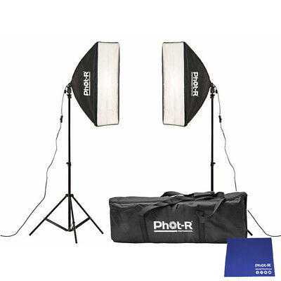 Phot-R 2x 2000W Bulbs 50x70cm Softbox Continuous Lighting Stand Chamois Cloth