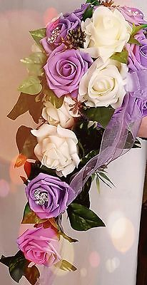 Bridal bouquet lilac/cream, Strass, Waterfall, for Wedding dress, New