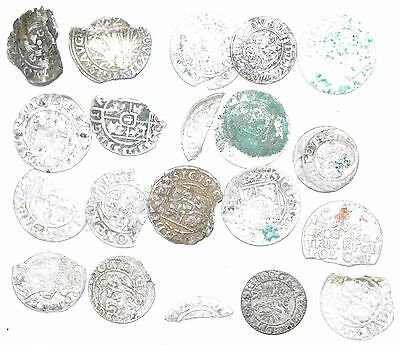 Lot Of 20 Medieval Silver Hammered Coins -Ancient Artifact Fantastic - H671
