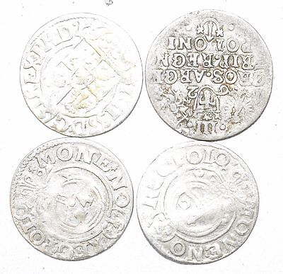 Lot Of 4 Medieval Silver Hammered Coins - Ancient Artifact Stunning - H673
