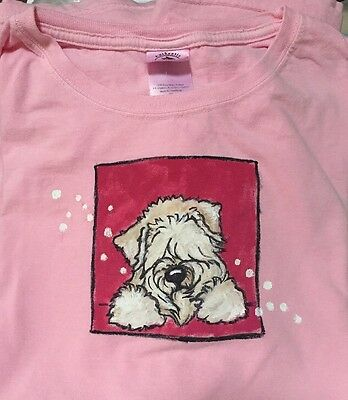 Wheaten Terrier Hand Painted Pink Authentic  pigment Ladies Size XL  By Darci