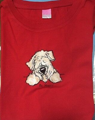 Wheaten Terrier Hand Painted Blue LAT T Shirt Ladies Size XL  By Darci