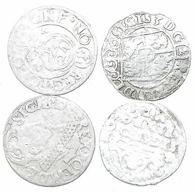 Lot Of 4 Medieval Silver Hammered Coins - Ancient Artifact Fantastic - H674