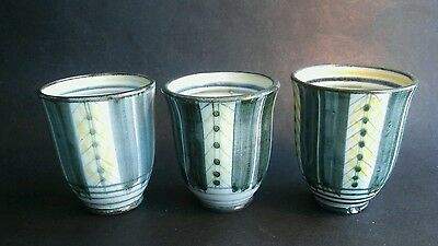 Rye pottery early wheatgerm pattern beakers