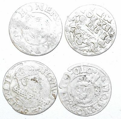 Lot Of 4 Medieval Silver Hammered Coins - Ancient Artifact Superb - H675