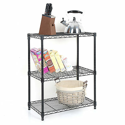 Tidy Living - 3 Tier Wire Shelf Heavy Duty Adjustable Organization Rack 23x13x30