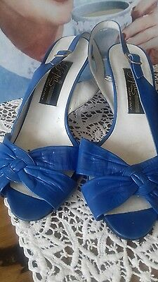 1950's Style Rock & Roll Italian Royal Blue Leather Ladies Shoes UK 5.5 EU 38.5