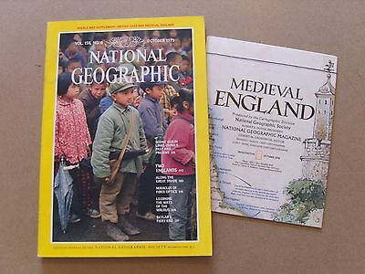 National Geographic Magazine - October 1979 - Medieval England Map Ingland