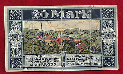 1918 Maulbronn Germany 20 Mark Note Notgeld