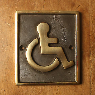 Disabled Brass Antique Style Vintage Toilet Door Sign Disability Quality Made