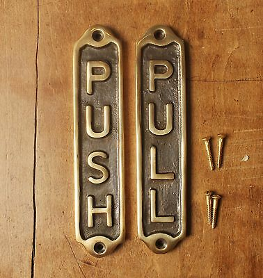 Pair Of Push & Pull Old Antique Style Vintage Signs ~ Solid Cast Brass Plaque