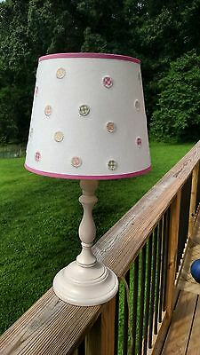 Pottery Barn Kids Payton Off White Lamp with pink trim shade