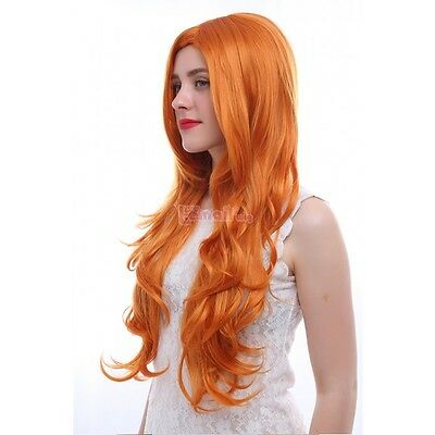 Parrucca rosso rame 80 cm cosplay wig asuka capelli acconciabile fino a 200°