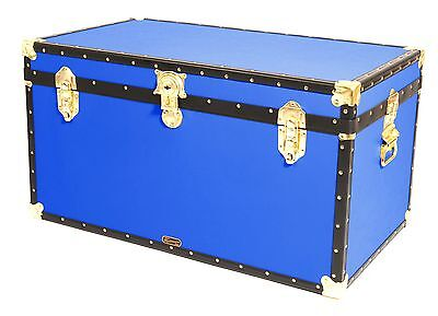 "BLUE Traditional British Mossman Made 36"" Cabin Chest - Boarding School Trunks"