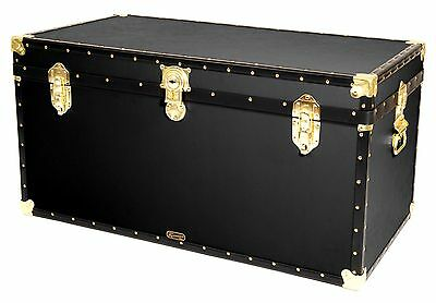 "BLACK Traditional British Mossman Made 40"" Queen Travel Storage Shipping Trunk"