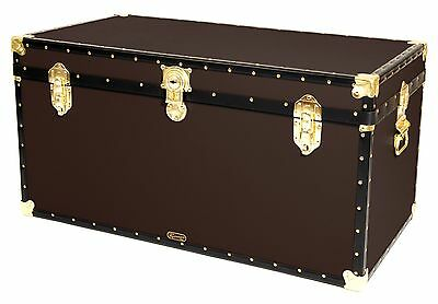 "BROWN Traditional British Mossman Made 40"" Queen Travel Storage Shipping Trunk"