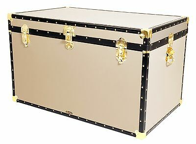 "CREAM Traditional British Mossman Made 40"" King Size Storage Travel Chest Trunk"