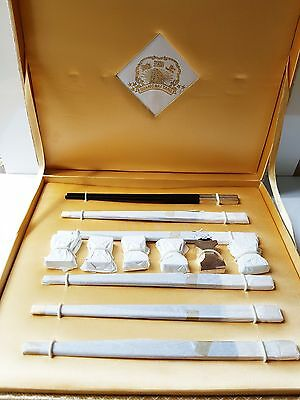 Shanghai Tang Silver Plated & Ebonised Chopstick Set of 6 With Chopstick Rests
