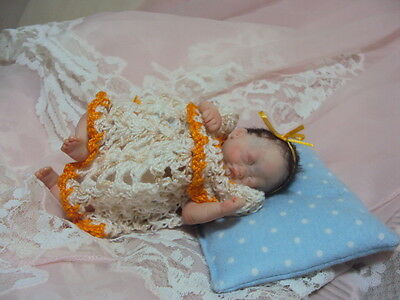 """Mini OOAK HAND SCULPTED  Polymerclay Doll  Baby Girl Carly 5"""""""