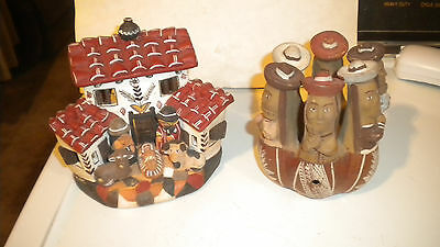 Vintage Southwestern Pottery or Clay 2 Pcs. PEOPLE in CIRCLE & NATIVITY? PEOPLE