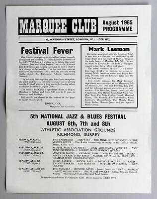 THE WHO Yardbirds Animals - rare orig Marquee Club, London 1965 concert handbill