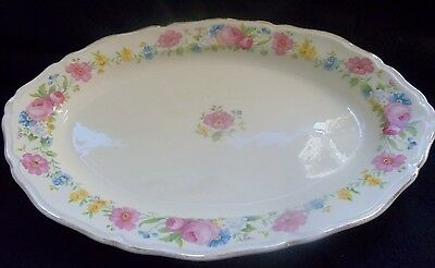 "Edwin M Knowles China Co 11.5"" x 9"" Floral Serving Platter with Gold Trim #33-6"