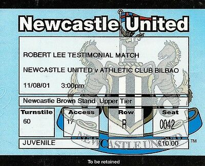 Ticket : Newcastle United v Athletic Bilbao - Robert Lee Test. - 11 August 2001