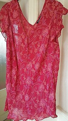 Evans Essence Ladies Pink Floral Lightweight Cap Sleeve Top - Size 22 Immaculate