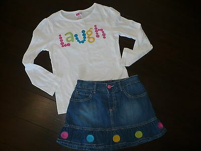 Girls 2 Piece Crazy Eight Skirt & Top Outfit Size 7-8