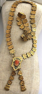 Antique Victorian Gold Fill Coral Cameo And Enamel Book Chain Necklace