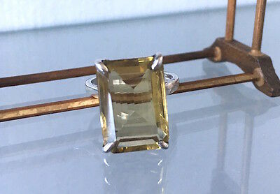 Stunning! Vintage Sterling Silver and Citrine Cocktail Ring Size 9