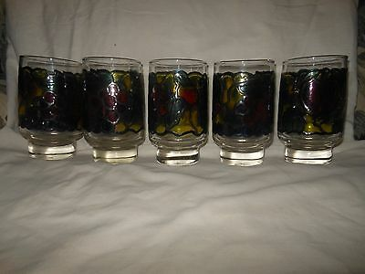 Vintage Lot Of 5 Libbey Juice Fruit Stain Glass  Drinking Glasses  4 3/4 '' Tall