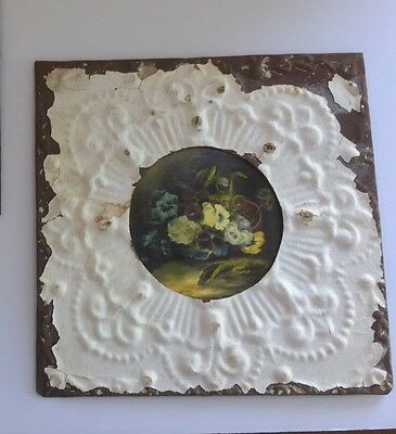 "Antique Ceiling Tin Wall Tile Floral Art 11.25"" Square"