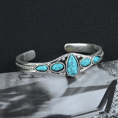 Jewelry Vintage Lady Cuff Fashion Women Bracelet Adjustable Bangle Turquoise