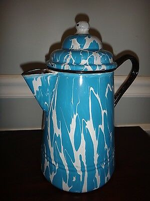 Antique Graniteware Coffee Pot Blue & White Swirl Very Good Condition Enamelware